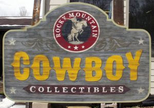 real materials or affordable imitations Paxton Signs cowboy sign