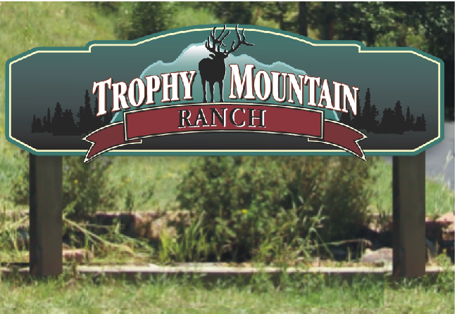trophy mountain ranch sign