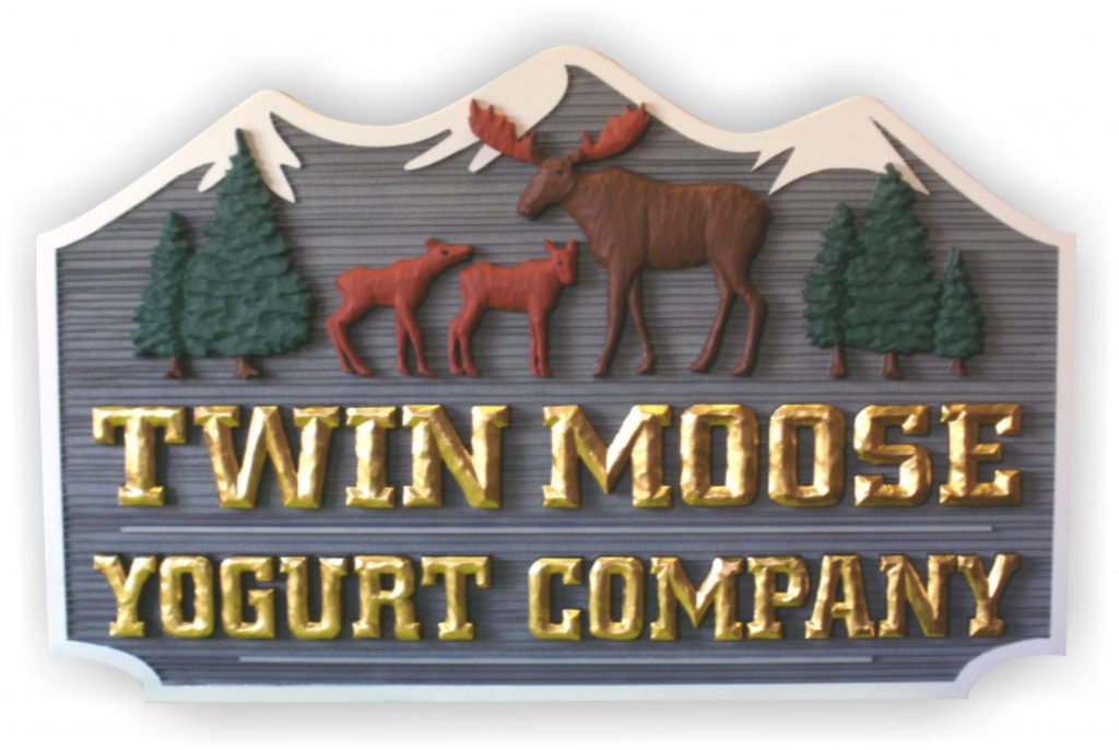 twin moose yogurt company sign