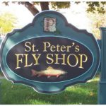 hand-carved gold leaf st. peters fly shop sign