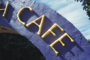the backporch cafe gold leaf letters detail