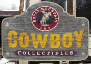 real materials or affordable imitations Paxton Signs cowboy sign