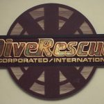 Dive Rescue dimensional sandblasted sign with varigated gold leaf letters Fort Collins CO