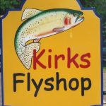 non-dimensional painted sign for kirks flyshop