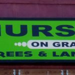 close up of vinyl sign for nursery on grand