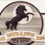 Alias Smith and Jones large hand-carved gold-leaf dimensional sign Fort Collins CO