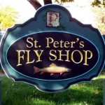 St Peter's Fly Shop handcrafted dimensional sandblasted sign.