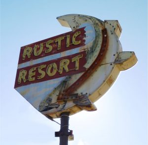 vintage commercial neon sign for Rustic Resort